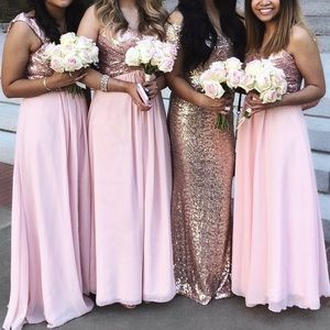 Women's Sequined Long Prom Bridesmaid Dress